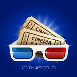 Cinema art movie watching - 3d glasses and tickets. Poster vector illustration