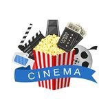 Cinema art movie watching. Cinema industry symbols icons isolated on white background. Vector Illustration Stock Image