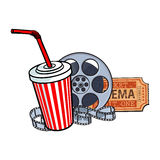 Cinema attributes, film reel, ticket, soda water in paper cup Stock Photo