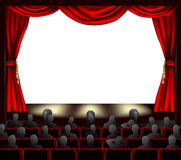 Cinema with audience. Cinema with curtains and audience. Space to place anything on stage stock illustration