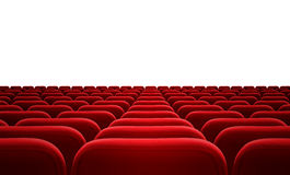 Cinema or audience red seats isolated. On white Stock Image