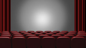 Cinema auditorium. 3d rendering. View on the screen royalty free illustration