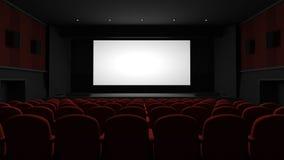 Cinema auditorium. With blank screen royalty free illustration