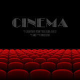 Cinema auditorium with black screen and red seats Stock Images