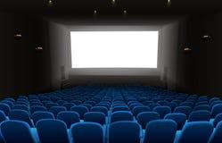 Cinema auditorium with blue seats and white blank screen. Illustration of Cinema auditorium with blue seats and white blank screen Royalty Free Stock Photos