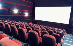 Cinema auditorium. Empty cinema auditorium with screen and seats stock photo