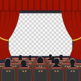 Cinema auditorium with seats and audience. Cinema auditorium flat icons with seats, audience and transparent screen, vector illustration stock illustration