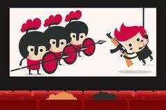 Cinema auditorium with movie.  royalty free illustration