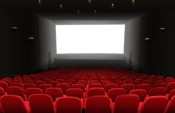 Cinema auditorium with red seats and white blank screen. Illustration of Cinema auditorium with red seats and white blank screen Stock Image