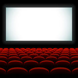 Cinema auditorium with screen and seats. Vector illustration stock illustration