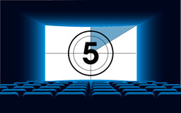 Cinema auditorium with screen and seats,illustration. Stock Images