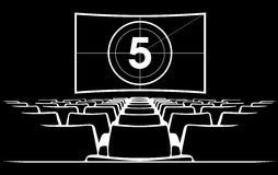 Cinema auditorium with screen and seats,illustration. Royalty Free Stock Photos