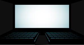 Cinema auditorium with screen and seats,illustration. Stock Photo
