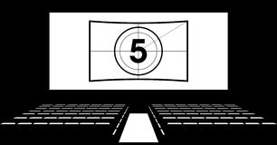 Cinema auditorium with screen and seats,illustration. Royalty Free Stock Images