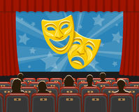 Cinema auditorium with seats and audience. Cinema auditorium flat icons with seats, audience and theater masks on screen, vector illustration royalty free illustration
