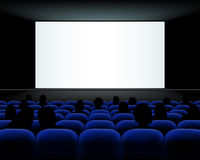Cinema auditorium with seats, peoples and blank screen Royalty Free Stock Image