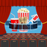 Cinema auditorium with seats and popcorn Stock Photography