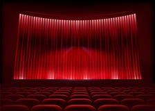 Cinema auditorium with stage curtain. Vector illustration stock illustration