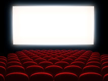 Cinema auditorium. With white screen stock illustration
