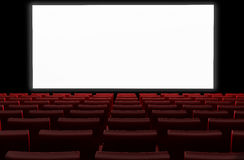 Cinema auditorium with white screen Stock Image