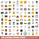 100 cinema award icons set, flat style Royalty Free Stock Image