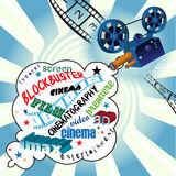 Cinema background. Abstract colorful illustration with words related to cinema coming out from a movie projector. Cinema concept Royalty Free Stock Image