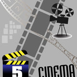 Cinema background. Abstract colorful illustration with movie projector, numbered filmstrip and clapboard. Cinema theme Royalty Free Stock Images
