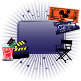 Cinema background. Abstract colorful illustration with cinema tickets, director chair, clapboard and popcorns Royalty Free Stock Image