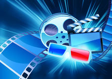 Cinema background. Vector illustration of blue abstract cinema background with anaglyph glasses, clapperboard and a film reel Royalty Free Stock Image