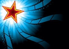 Cinema background. Poster with red star on blue background Royalty Free Stock Images