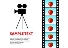 Cinema background. White cinema  background with strawberries Royalty Free Stock Photos