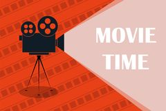 Cinema background or banner. Movie time. Movie ticket. Cinema camera Royalty Free Stock Photography