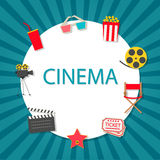 Cinema background with cinema icons set. In flat design style, vector Stock Images