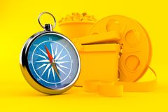 Cinema background with compass. In orange color. 3d illustration Royalty Free Stock Image