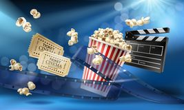 Cinema background with 3d realistic objects. Cinema blue background with 3d realistic objects popcorn, tape, tickets and clapperboard. Vector concept colorful Royalty Free Stock Photo