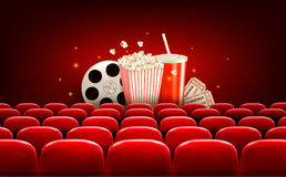 Cinema background with a film reel, popcorn. Drink and tickets. Vector Stock Image