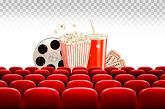 Cinema background with a film reel, popcorn, drink and tickets. Vector Stock Image