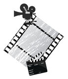 Cinema. Background illustration with a camera and filmstrip Royalty Free Stock Image