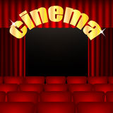 Cinema background. Illustration cinema hall with red chairs and curtains.movie theater Royalty Free Stock Images