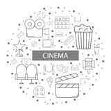 Cinema background from line icon. Linear vector pattern Stock Photo