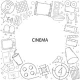 Cinema background from line icon. Linear vector pattern Royalty Free Stock Photo