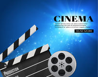 Cinema Background With Movie.Blue background with light star.Clapper Board. Vector Flyer Or Poster. Illustration Of Film Industry. Template For Your Design Stock Image