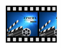 Cinema Background With Movie.Blue background with light star.Clapper Board. Vector Flyer Or Poster. Illustration Of Film Industry. Template For Your Design Royalty Free Stock Images