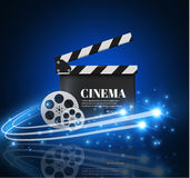 Cinema Background With Movie.Blue background with light star.Clapper Board. Vector Flyer Or Poster. Illustration Of Film Industry. Template For Your Design Royalty Free Stock Photos