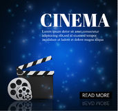 Cinema Background With Movie.Blue background with light star.Clapper Board. Vector Flyer Or Poster. Illustration Of Film Industry. Template For Your Design Royalty Free Stock Photo