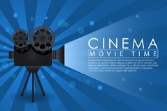 Cinema background, movie time banner with retro camera. Abstract advertising poster for cinema theatre or website. Vector. Cinema background, movie time banner vector illustration