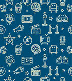 Cinema Background Pattern. Vector. Cinema Background Pattern on Dark Blue. Vector illustration Stock Photos