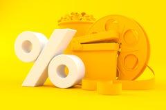 Cinema background with percent symbol. In orange color. 3d illustration Stock Images