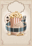 Cinema background. Popcorn bowl, film strip and ticket. Cinema attributes. Detailed vector illustration Royalty Free Stock Photos