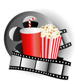 Cinema background with popcorn box, film strip. And paper cup with drink Stock Image